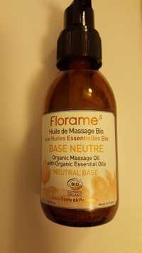 FLORAME - Huile de massage bio - Base neutre