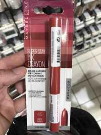 MAYBELLINE NEW YORK - Super stay ink crayon - Rouge à lèvres 45 hustile in heels