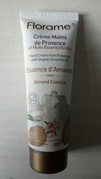 FLORAME - Essence d'amande - Crème mains de Provence bio