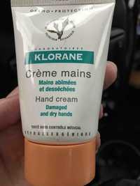 KLORANE - Crème mains abîmées et desséchées