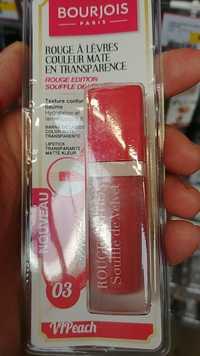 Bourjois - Souffle de Velvet - Rouge à lèvres couleur mate en transparence 03 VIPeach