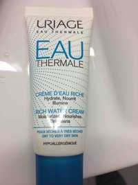 Uriage - Eau thermale - Crème d'eau riche